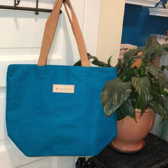 BEAUTIFUL BURLAP BAG-FULL LINING VELCRO CLOSURE